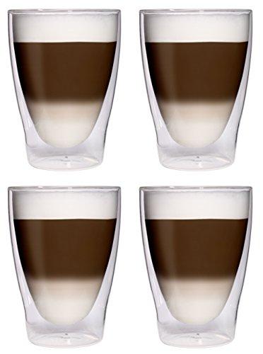 AKTION: 4x 280ml XL doppelwandige Latte Macchiato-Gläser / Cocktailgläser / Eistee-Gläser / Saft- und Wassergläser - 4x 280ml edle Thermogläser mit Schwebeeffekt von Feelino, 4x 280ml