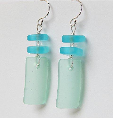 Sea Glass Earrings,Rectangle Shape Earrings, Aqua Earrings, Christmas gift for her, Dangle Earrings, Sterling Silver Earrings