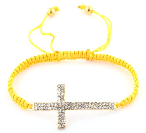 Yellow Lace Style Iced Out Cross Bracelet with Beaded Disco Balls Macrame Shamballah