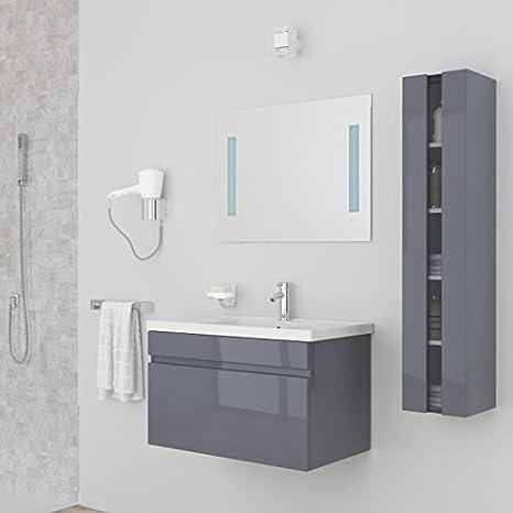 ALBAN Salle de bain complete simple vasque 80 cm - Laqué gris brillant