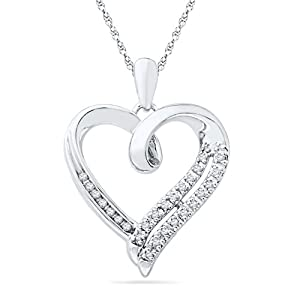 Sterling Silver White Round Diamond Heart Pendant (1/10 Cttw) from D-GOLD