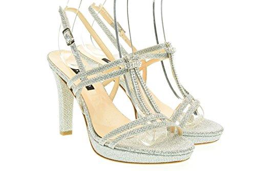 ALBANO donna sandali con il tacco 7416 Argento 37 Argento