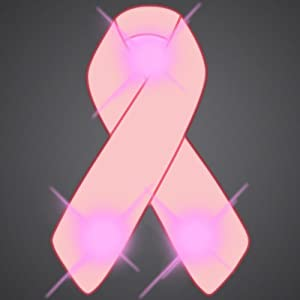 Pink Ribbon Flashing Blinking Light Up Body Lights Pins (5-Pack)