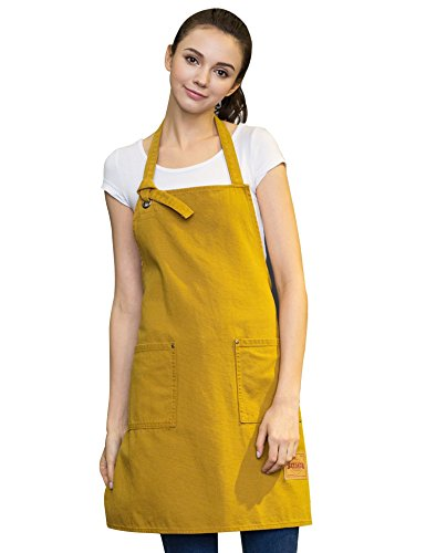 Vantoo Unisex Canvas Adjustable Cooking Apron for Men and Women with Pockets,Yellow Boys Canvas Carpenter Short
