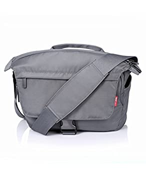 YAHER Nylon Messenger SLR DSLR Digital Shoulder Camera Case Gadget Bag With Rain Cover (Grey) by Shenzhen Yahe Bags Company Limited
