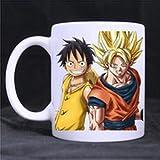 Emana Custom Dragon Ball z One piece Luffy Sangoku Mug Water Cup Popular White Coffee Mugs (Color: White, Tamaño: 11 ounce)