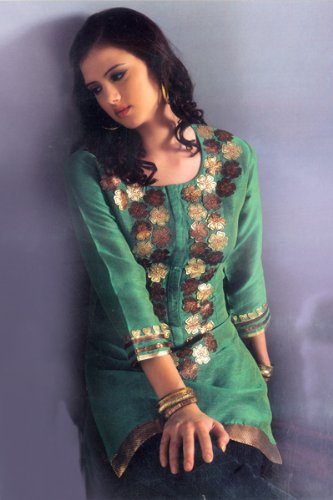 Ladies u neck patch work embroidered tops / tunics / dresses / kurta kurti