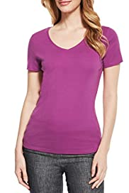 Pure Cotton V-Neck T-Shirt with StayNEW� [T41-0809-S]