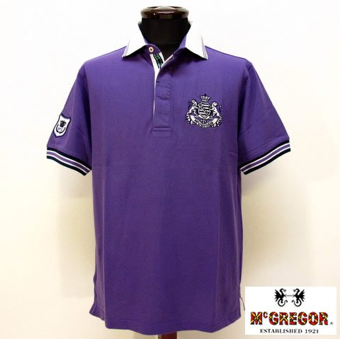 2777 半袖 ポロシャツ 鹿の子 台襟 男性 紳士服 メンズ McGREGOR マクレガー パープル(紫) L