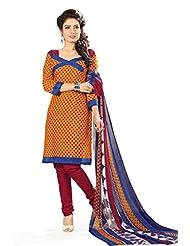 BanoRani Womens Haldi Yellow & Dark Red Color PolyCotton Unstitched Dress Material