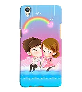 Printvisa Animated Romantic Couple With A Rainbow Background Back Case Cover for Oppo F1 Plus::Oppo R9