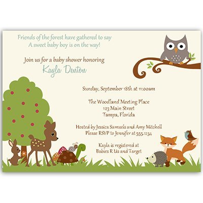 Forest Friends, Baby Shower Invitations, Woodland, Animals, Pals, Boys, Blue, 10 Custom Printed Invites with White Envelopes, FREE Shipping (Forest Baby Shower Invitations compare prices)