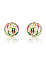 Rhinestone Enamel Stoving Varnish Gold Plated Butterfly Charm Stud Earrings For Women By Ananth Jewels
