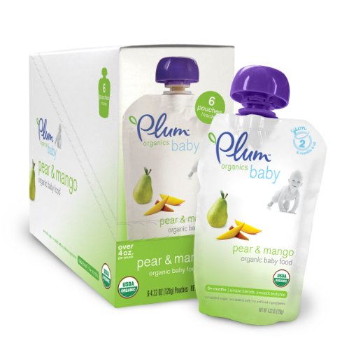Plum Organics Baby Food, Pear & Mango, 4.22-Ounce Pouches (Pack of 24)