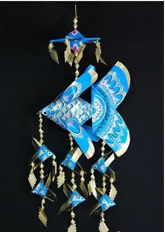 Handmade Small Fish Festoon Mobile With 6 Babies (Blue), Product Of Thailand + Free Shipping Worldwide front-514705