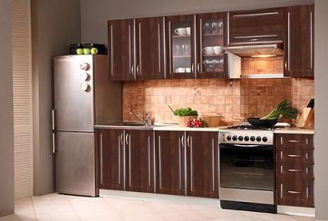 Kuchenzeile Kuchenblock jersey nussbaum dunkel 240 cm ohne Geräte