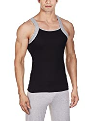 Chromozome Men's Cotton Vest (FB-05_Black and Grey Melange_M)