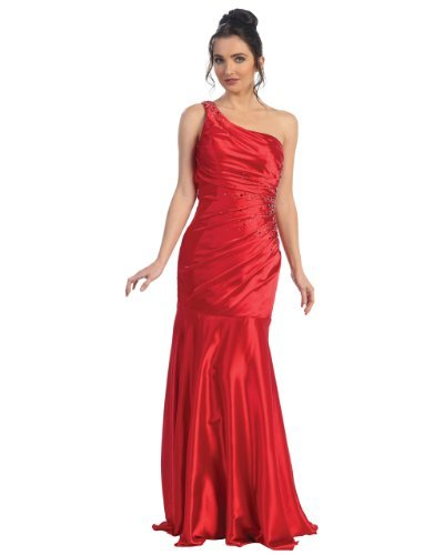 Fine Brand Shop Ladies One Shoulder Beaded Red Long Satin Evening Dress - Large