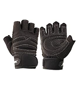 Coromose® Comfortable Black Weight Lifting Training Workout Exercise Gloves M