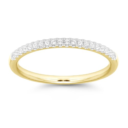 10k Yellow Gold 19-Stone Round Diamond Anniversary Band (1/10 cttw, IJ Color, I2 Clarity), Size 7