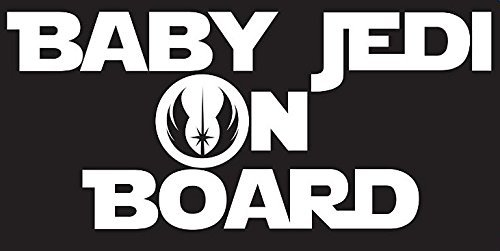Baby Jedi on Board Decal Sticker Inspired By Star Wars | Decal is White | Car or Truck Decal | 7.25 X 3.25 In | KCD191