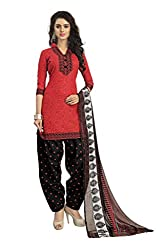 Vaamsi Women's Faux Cotton Salwar Suit Dress Material(Deep1038_Red_Free Size)