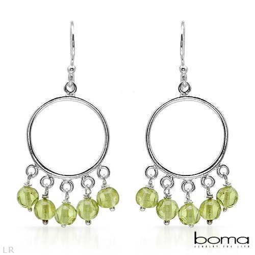 BOMA Pleasant Chandelier Earrings With 4.50ctw Genuine Peridots Beautifully Designed in 925 Sterling silver Length 36mm