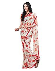 Indian Designer Sari Charming Floral Printed Faux Georgette Saree By Triveni