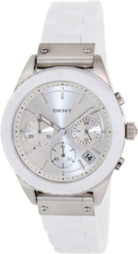 DKNY NY8579 Women's White Silicone Band Silver Dial Chronograph Watch