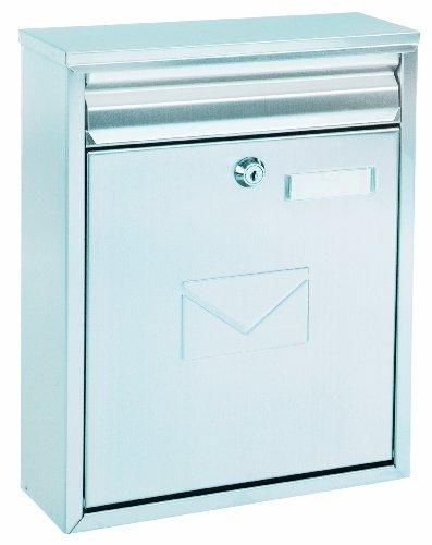 Briefkasten Como Edelstahl, mit Einwurfmöglichkeit von vorne und hinten, Zylinderschloss mit 2 Schlüssel, Zaunbriefkasten