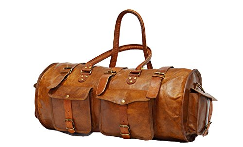 Vintage Bag Genuine Leather Travel Duffle Outdoor Luggage Bag in Round Shape 21 inch