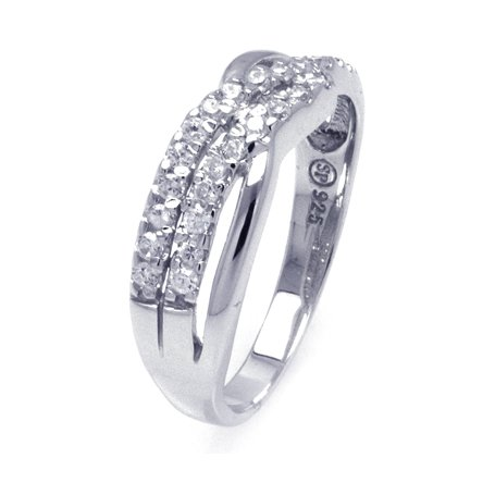 White Cubic Zirconia Twist Silver Ring, Includes Gift Box and Special Pouch. (4)