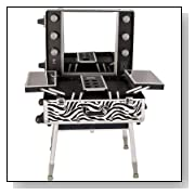 Professional Rolling Makeup Train Case Pattern: Zebra, Color: White