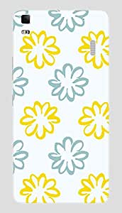 Back Cover for Lenovo K3 Note blue and yellow flowers