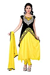 Regalia Ethnic New Collection Yellow Net And Velvet Embroidered Semistitched Dress Material With Matching Dupatta
