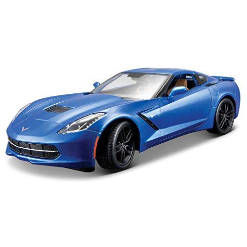 Maisto 31677 - Corvette Stingray Modellino, Scala 1:18, Colori Assortiti: Blu/Bianco