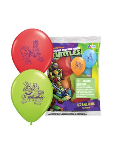 "Pioneer National Latex Teenage Mutant Ninja Turtles 12"" Latex Balloons, 6 Count"