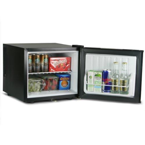 ChillQuiet Mini Fridge 17ltr Black | bar@drinkstuff Quiet Running Mini Fridge, Silent Can Cooler, Bottle Cooler, Compact Table Counter Top with Lock