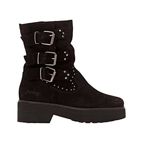 Coolway Donna Boots In Pelle Scamosciata Con Cinturini Baboon Taglia 37 Nero
