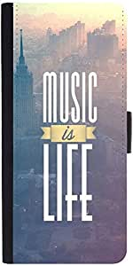 Snoogg Music Is Life Graphic Snap On Hard Back Leather + Pc Flip Cover Samsun...