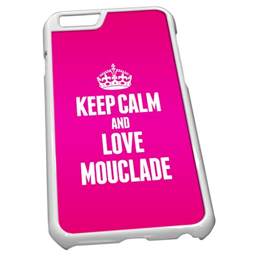 Blanc Coque pour iPhone 6 1296 Rose Keep Calm and Love mouclade