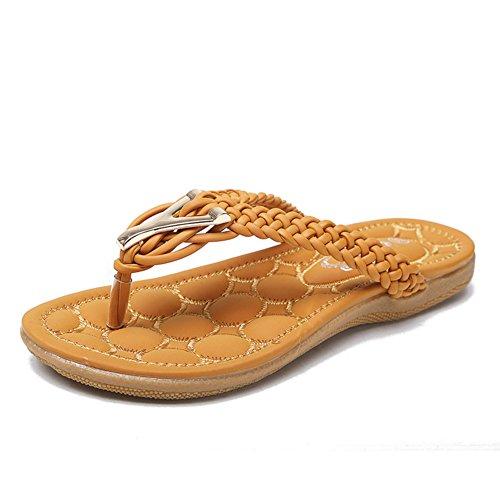 Les Coréens sweet Summer tressé boucle métallique tongs/Casual élégant pied plat femmes sandales et pantoufles