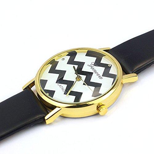 Zps(Tm) Moire Watch Pu Leather Quartz Wrist Watches(Black)