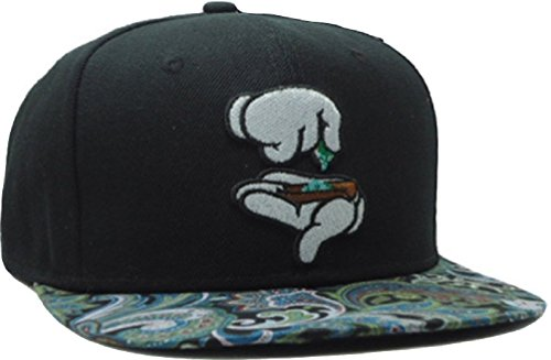 YOXO-Adjustable-Black-Marijuana-Rolling-Hands-Snapback-Cap-Hat-for-Men-Baseball-Cap