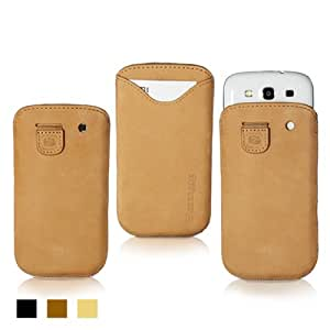 Snugg Galaxy S3 Leather Case in Tan Suede - Pouch with Card Slot, Elastic Pull Strap and Premium Nubuck Fibre Interior for the Samsung Galaxy S3 With Free Set of Screen Protectors