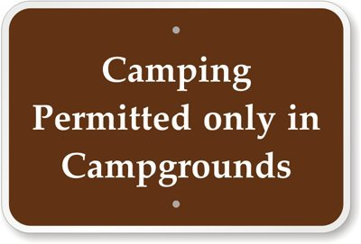 "Camping Permitted Only In Campgrounds Sign, 30"" X 24"""