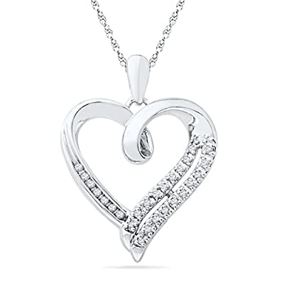 Sterling Silver White Round Diamond Heart Pendant (1/10 Cttw): D-Gold: Jewelry