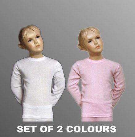Set of 2 Colours Girls Thermal Underwear Long Sleeve Vest, Various Sizes