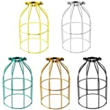 Generic Vintage Industrial Steel Light Bulb Guard Clamp On Metal Pendant Light Lamp Cage-silver