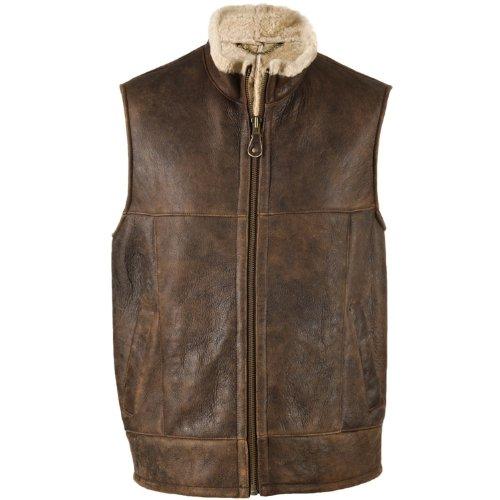 Mens Luxury Leather Gilet / Body Warmer with Sheepskin Lining. Size 48